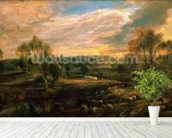A Landscape with a Shepherd and his Flock, c.1638 (oil on oak) wall mural in-room view