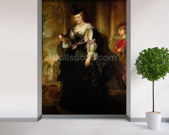 Portrait of Helene Fourment with a Coach, c.1639 (oil on panel) wallpaper mural room setting