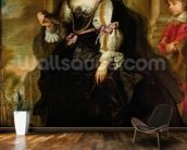 Portrait of Helene Fourment with a Coach, c.1639 (oil on panel) wallpaper mural kitchen preview