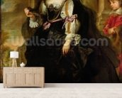 Portrait of Helene Fourment with a Coach, c.1639 (oil on panel) wallpaper mural living room preview