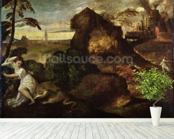 Orpheus and Eurydice (oil on canvas) mural wallpaper room setting