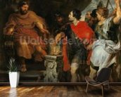 Mucius Scaevola before Lars Porsena, c.1618-20 (oil on canvas) wallpaper mural kitchen preview