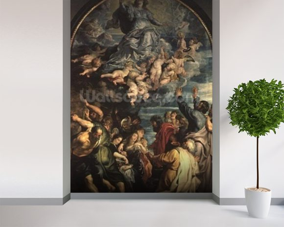 The Assumption of the Virgin Altarpiece, 1611/14 (panel) wallpaper mural room setting