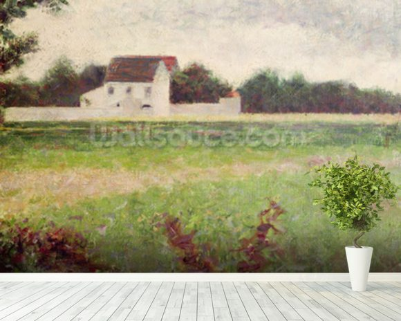 Landscape in the Ile-de-France, 1881-82 (oil on canvas) wallpaper mural room setting
