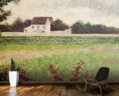 Landscape in the Ile-de-France, 1881-82 (oil on canvas) wallpaper mural kitchen preview