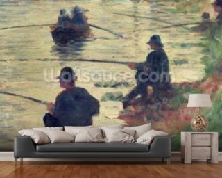 Anglers, Study for La Grande Jatte, 1883 (oil on panel) wall mural