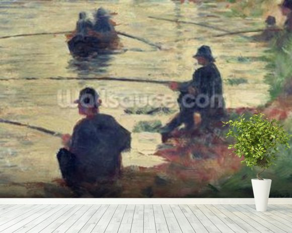 Anglers, Study for La Grande Jatte, 1883 (oil on panel) wall mural room setting