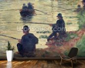 Anglers, Study for La Grande Jatte, 1883 (oil on panel) wall mural kitchen preview