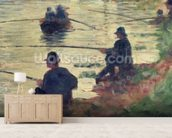 Anglers, Study for La Grande Jatte, 1883 (oil on panel) wall mural living room preview