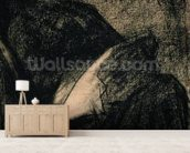 Embroiderer, 1882 (charcoal on paper) wallpaper mural living room preview