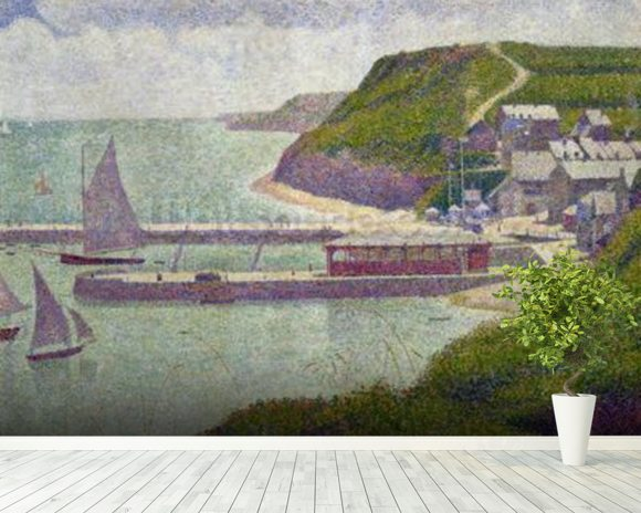 Harbour at Port-en-Bessin at High Tide, 1888 (oil on canvas) wall mural room setting