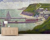 Harbour at Port-en-Bessin at High Tide, 1888 (oil on canvas) wall mural living room preview