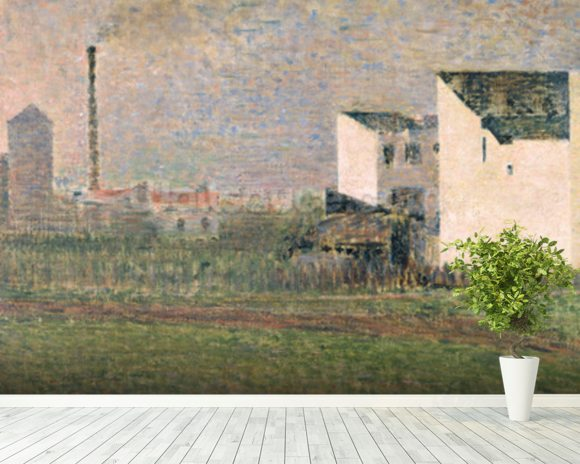 Suburb, c.1882 (oil on canvas) mural wallpaper room setting