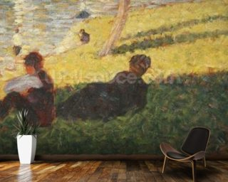 Seated man and reclining woman, study for A Sunday Afternoon on the Island of La Grande Jatte, 1884 (oil on panel) wallpaper mural