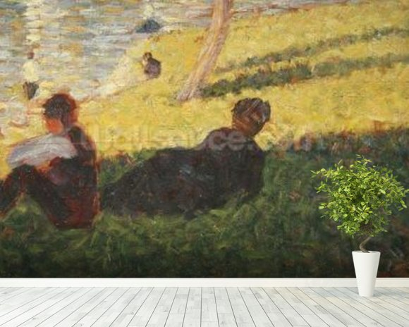 Seated man and reclining woman, study for A Sunday Afternoon on the Island of La Grande Jatte, 1884 (oil on panel) wallpaper mural room setting
