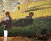 Seated man and reclining woman, study for A Sunday Afternoon on the Island of La Grande Jatte, 1884 (oil on panel) wallpaper mural kitchen preview
