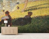 Seated man and reclining woman, study for A Sunday Afternoon on the Island of La Grande Jatte, 1884 (oil on panel) wallpaper mural living room preview
