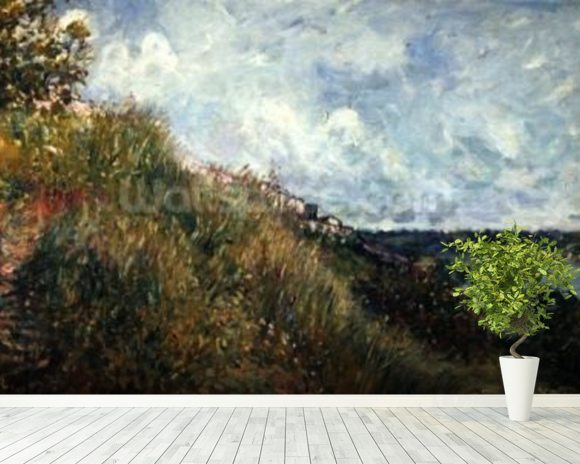 The Seine, view of the slopes of By, 1881 (oil on canvas) mural wallpaper room setting