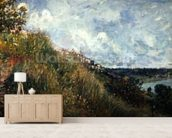 The Seine, view of the slopes of By, 1881 (oil on canvas) mural wallpaper living room preview