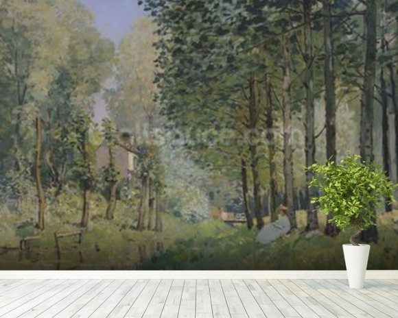 The Rest by the Stream. Edge of the Wood, 1872 (oil on canvas) wall mural room setting