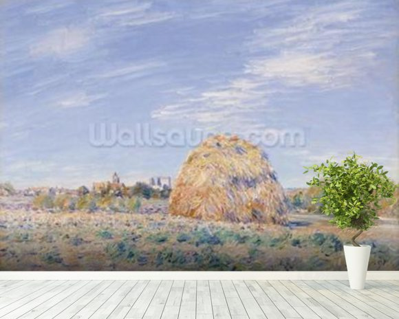 Haystack on the Banks of the Loing, 1891 (oil on canvas) mural wallpaper room setting