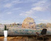 Haystack on the Banks of the Loing, 1891 (oil on canvas) mural wallpaper kitchen preview