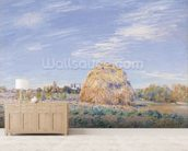 Haystack on the Banks of the Loing, 1891 (oil on canvas) mural wallpaper living room preview