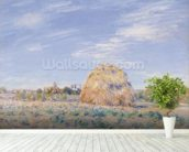 Haystack on the Banks of the Loing, 1891 (oil on canvas) mural wallpaper in-room view