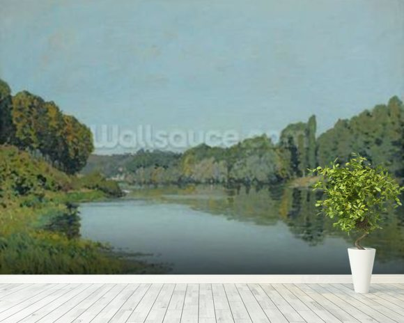 The Seine at Bougival, 1873 (oil on canvas) wallpaper mural room setting