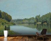 The Seine at Bougival, 1873 (oil on canvas) wallpaper mural kitchen preview