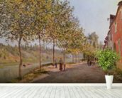 June Morning in Saint-Mammes, 1884 (oil on canvas) mural wallpaper in-room view