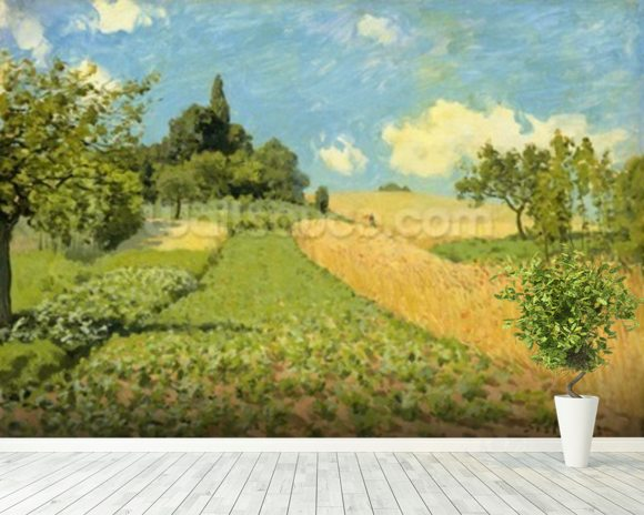 The Cornfield (near Argenteuil) (oil on canvas) wallpaper mural room setting