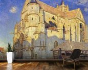 The Church at Moret, Frosty Weather, 1893 (oil on canvas) mural wallpaper kitchen preview