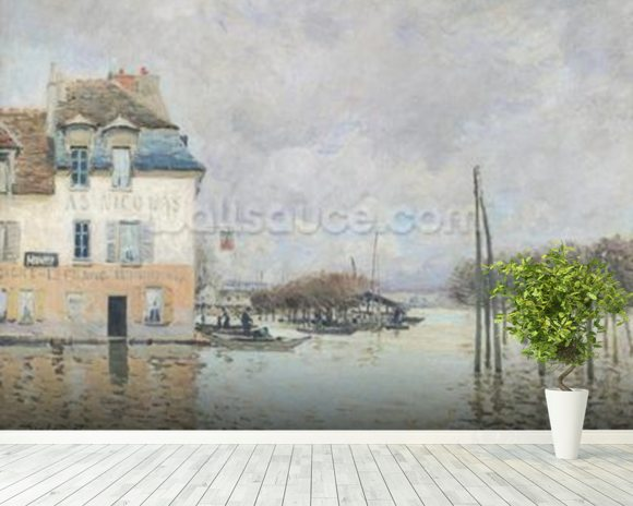 The Flood at Port-Marly, 1876 (oil on canvas) wallpaper mural room setting