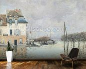 The Flood at Port-Marly, 1876 (oil on canvas) wallpaper mural kitchen preview