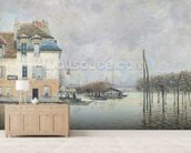 The Flood at Port-Marly, 1876 (oil on canvas) wallpaper mural living room preview
