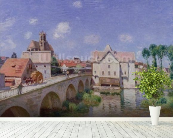 The Bridge at Moret, 1893 (oil on canvas) mural wallpaper room setting