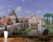 The Bridge at Moret, 1893 (oil on canvas) mural wallpaper kitchen preview