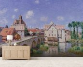 The Bridge at Moret, 1893 (oil on canvas) mural wallpaper living room preview