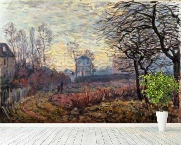 Landscape near Louveciennes, 1873 wallpaper mural room setting