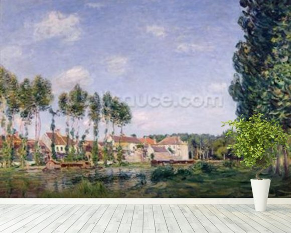 Banks of the Loing, Moret, 1892 (oil on canvas) wallpaper mural room setting