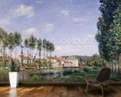 Banks of the Loing, Moret, 1892 (oil on canvas) wallpaper mural kitchen preview