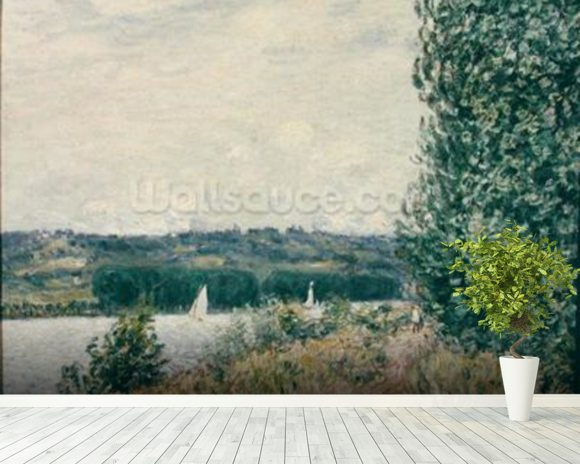 The Seine at Bouille, a Gust of Wind, 1894 (oil on canvas) mural wallpaper room setting