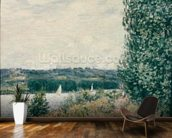 The Seine at Bouille, a Gust of Wind, 1894 (oil on canvas) mural wallpaper kitchen preview