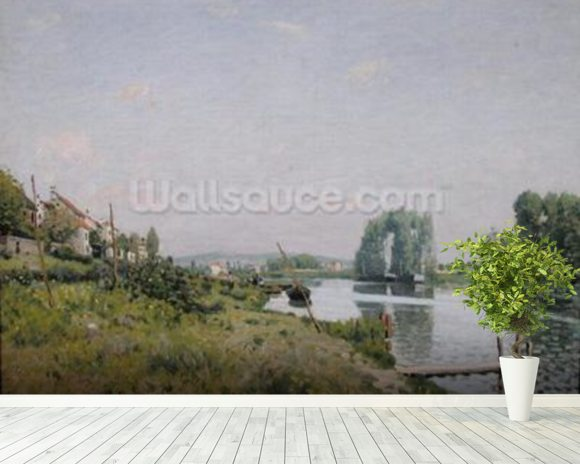 Ile Saint-Denis, 1872 (oil on canvas) wall mural room setting