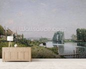 Ile Saint-Denis, 1872 (oil on canvas) wall mural living room preview