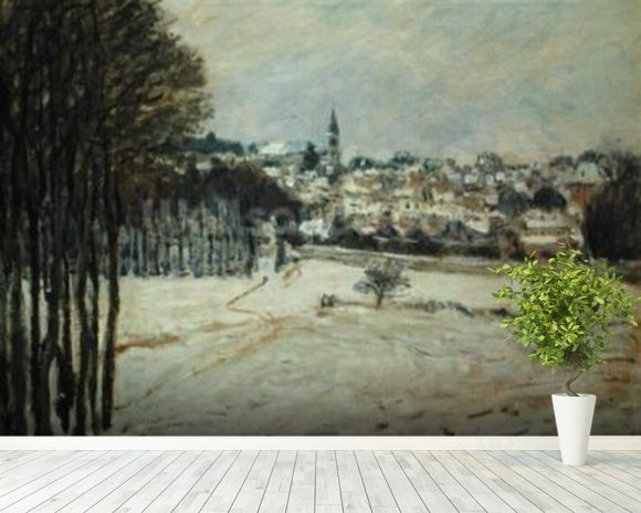 The Snow at Marly-le-Roi, 1875 (oil on canvas) wallpaper mural room setting