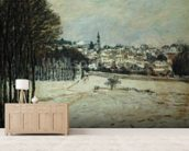 The Snow at Marly-le-Roi, 1875 (oil on canvas) wallpaper mural living room preview