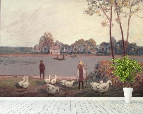 On the Banks of the Loing (pastel on paper) wall mural room setting
