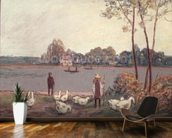 On the Banks of the Loing (pastel on paper) wall mural kitchen preview